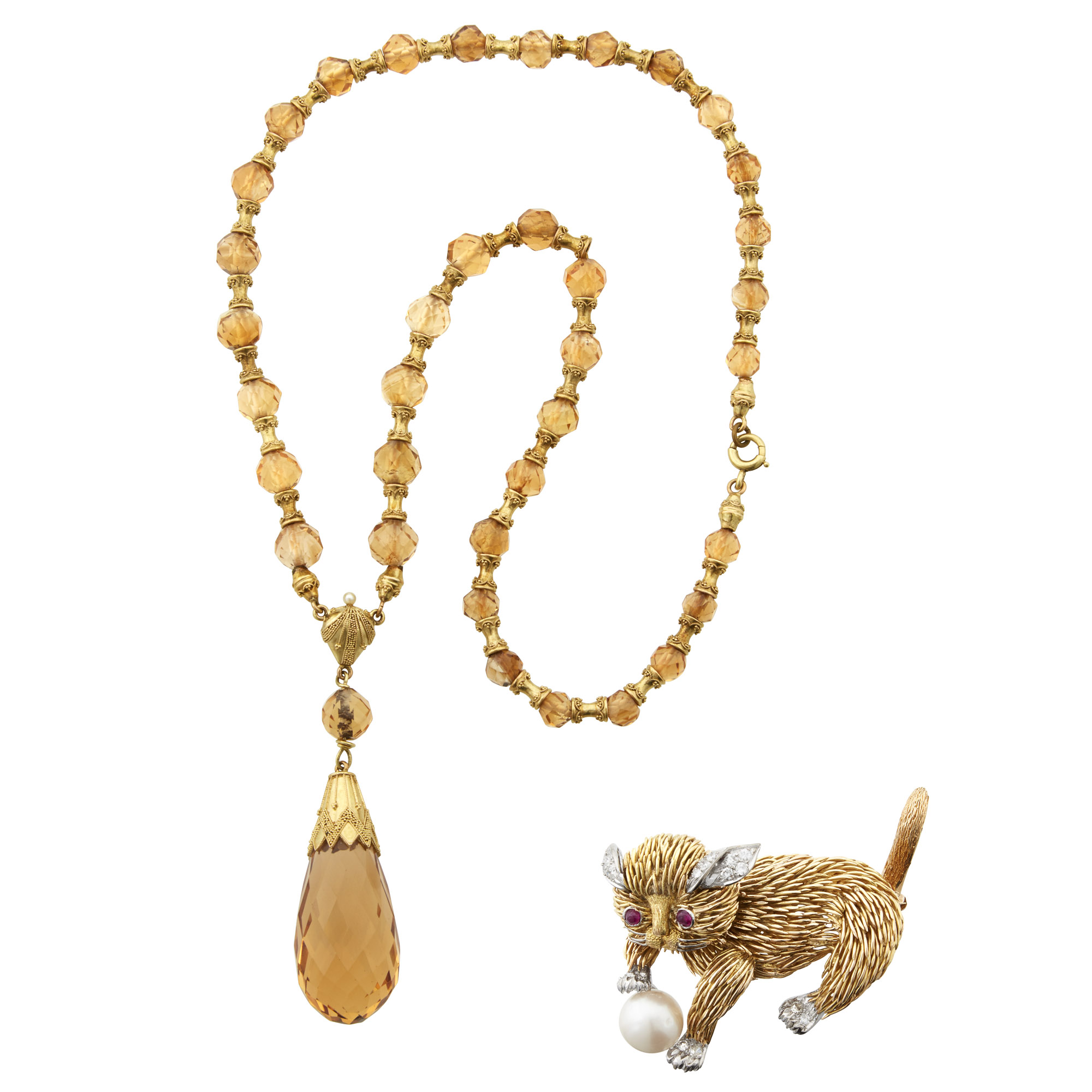 Lot image - Two-Color Gold, Diamond, Cultured Pearl and Ruby Cat Brooch and Antique Gold and Citrine Bead and Briolette Necklace