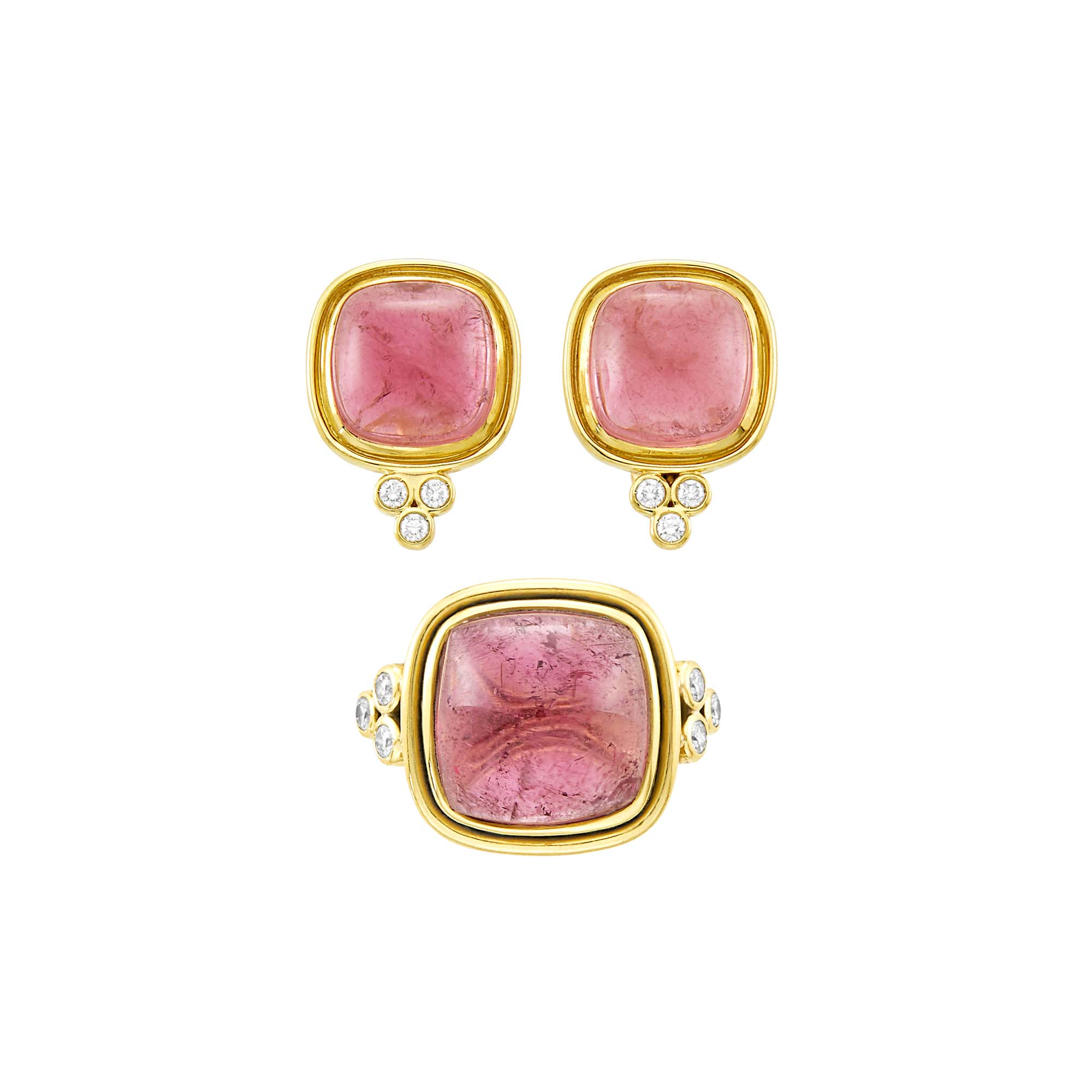 Lot image - Temple St. Clair Gold, Cabochon Pink Tourmaline and Diamond Ring and Pair of Earrings