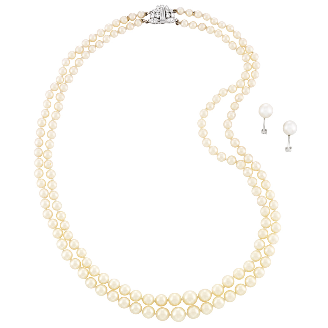 Lot image - Double Strand Cultured Pearl Necklace with Diamond Clasp and Pair of Platinum and Cultured Pearl Earclips, France