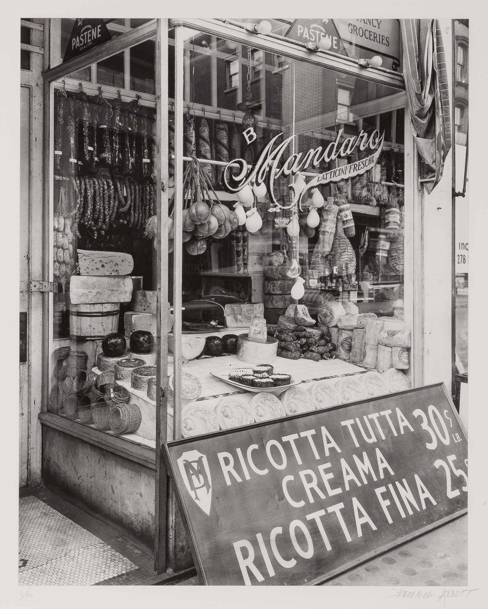 Lot image - ABBOTT, BERENICE (1898-1991)  Italian cheese store. 276 Bleecker Street, Manhattan,