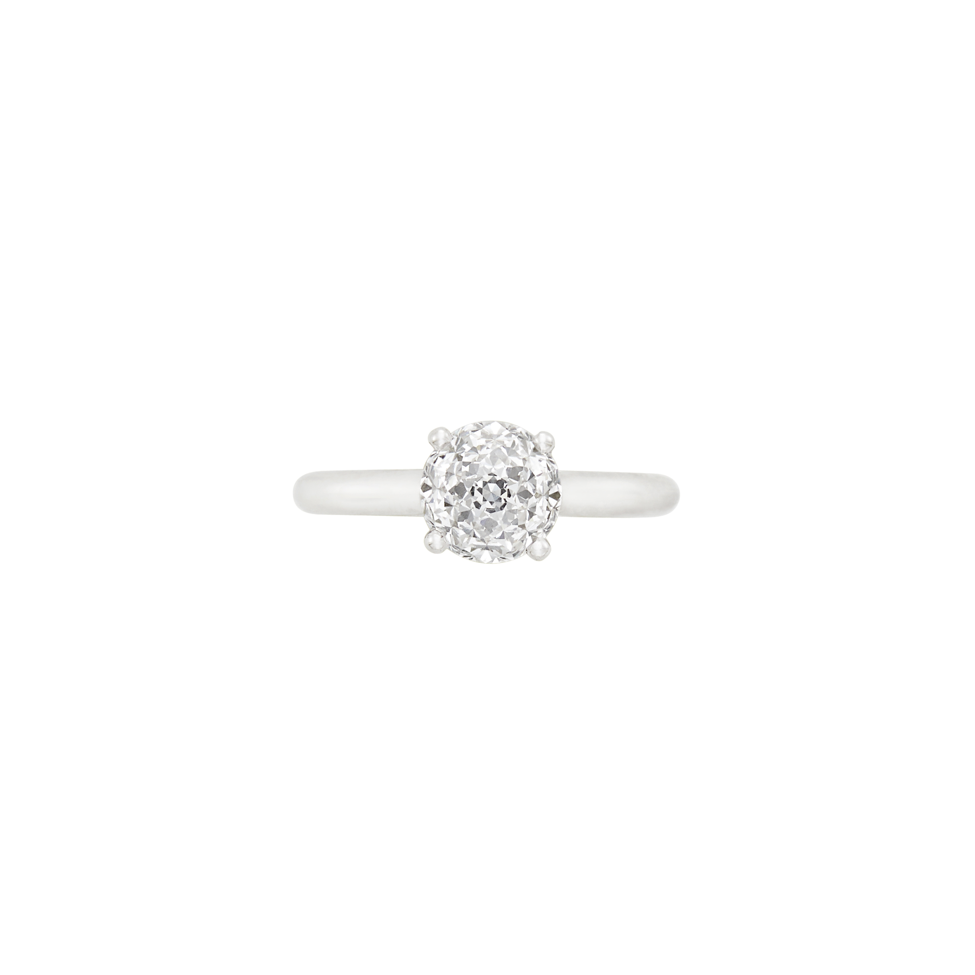 Lot image - Platinum and Crown of Light Diamond Ring, Cartier