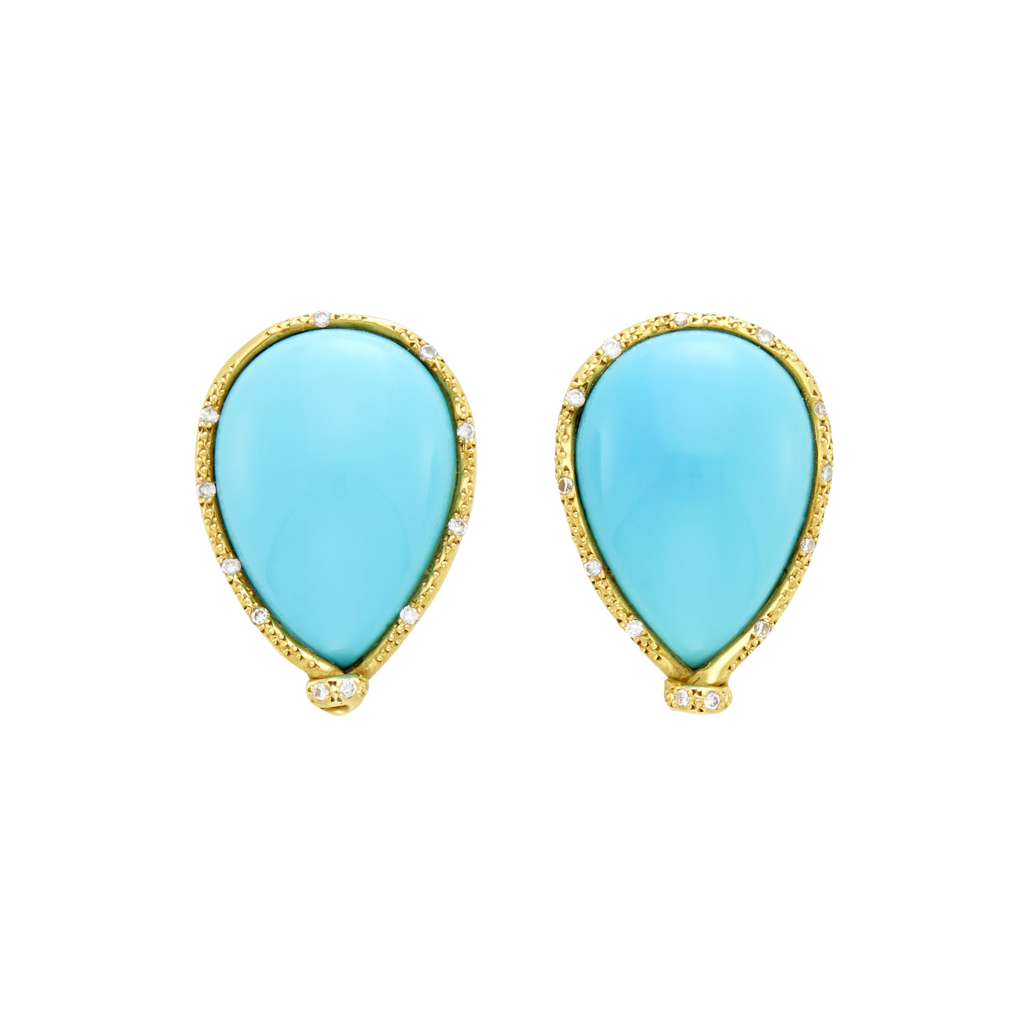 Lot image - Pair of Gold, Reconstituted Turquoise and Diamond Earclips