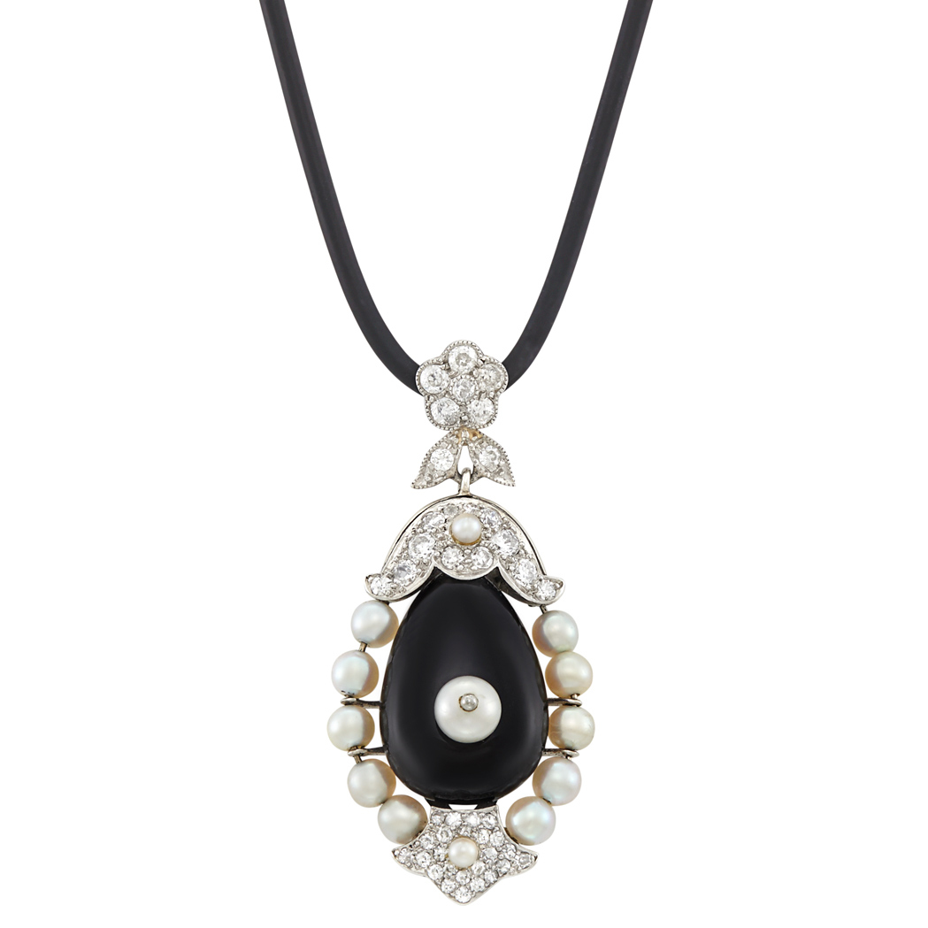 Lot image - Platinum, White Gold, Black Onyx, Pearl and Diamond Pendant with Black Cord Necklace