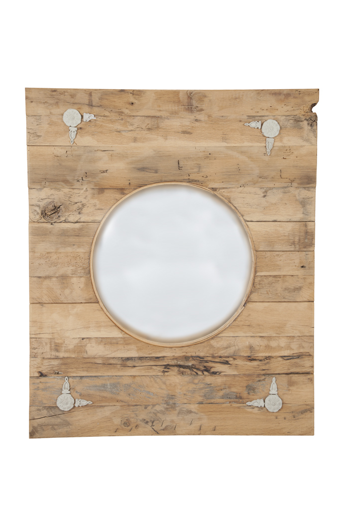 Lot image - Rustic Style Earthenware Mounted Oak Framed Convex Mirror