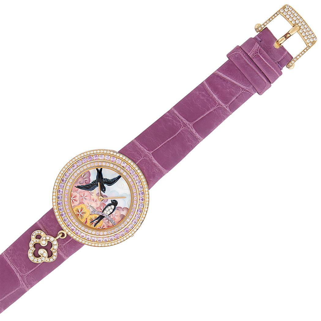 Lot image - Pink Gold, Diamond and Pink and Violet Sapphire Charms Extraordinaire Hirodelles Wristwatch, Van Cleef & Arpels