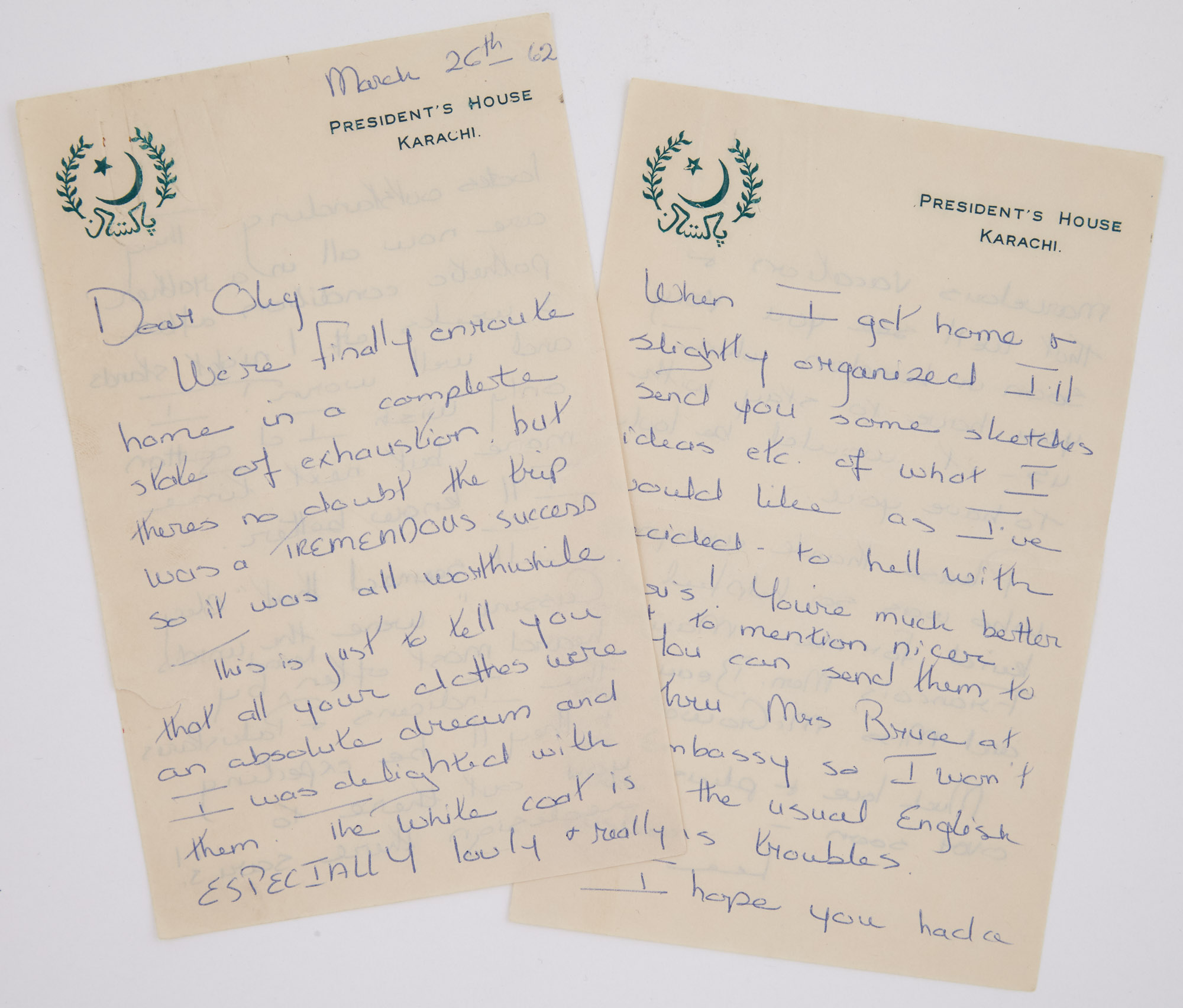 Lot image - RADZIWILL, LEE  Autograph letter signed to Oleg Cassini written from Pakistan while on official visit with the First Lady.