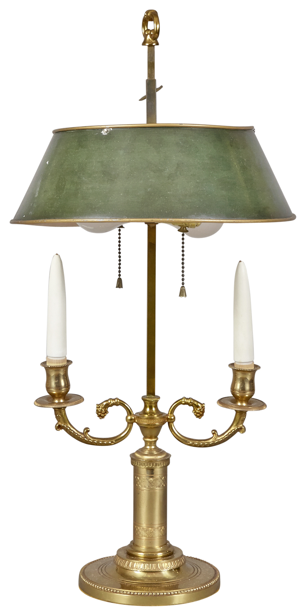 Lot image - Louis XVI Style Brass Two-Light Bouillotte Lamp