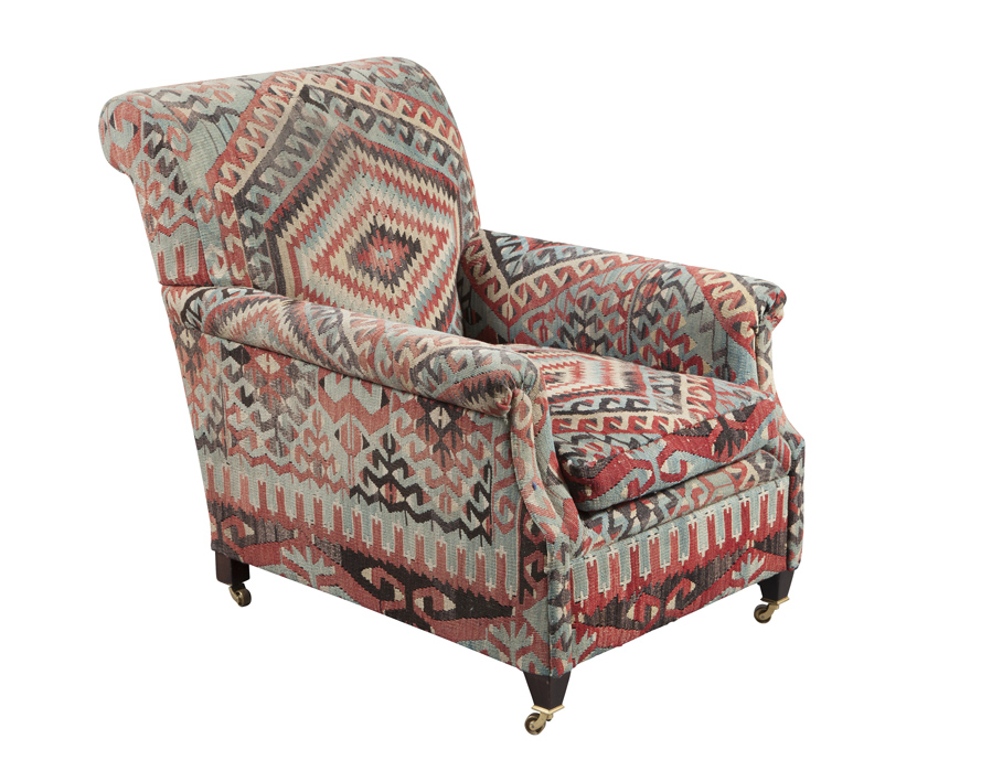 Lot image - George Smith Kilim Upholstered Club Chair