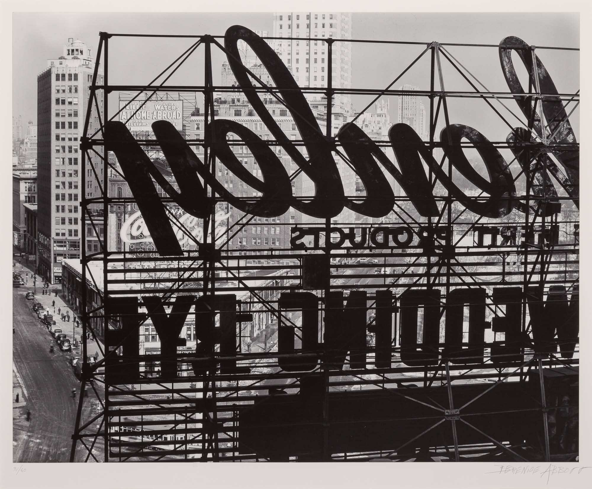 Lot image - ABBOTT, BERENICE (1898-1991)  Reverse of sign, Columbus Circle,
