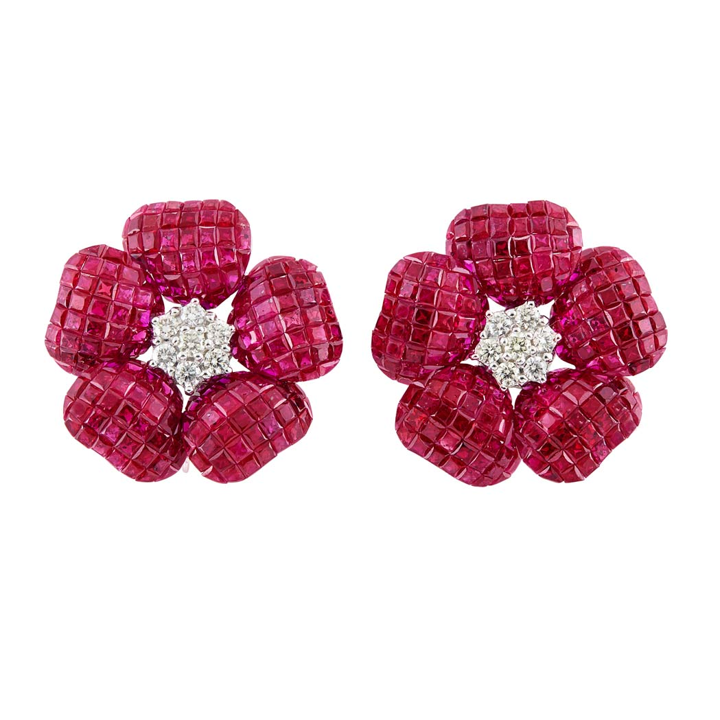 Lot image - Pair of White Gold, Diamond and  Invisibly-Set Ruby Flower Earrings
