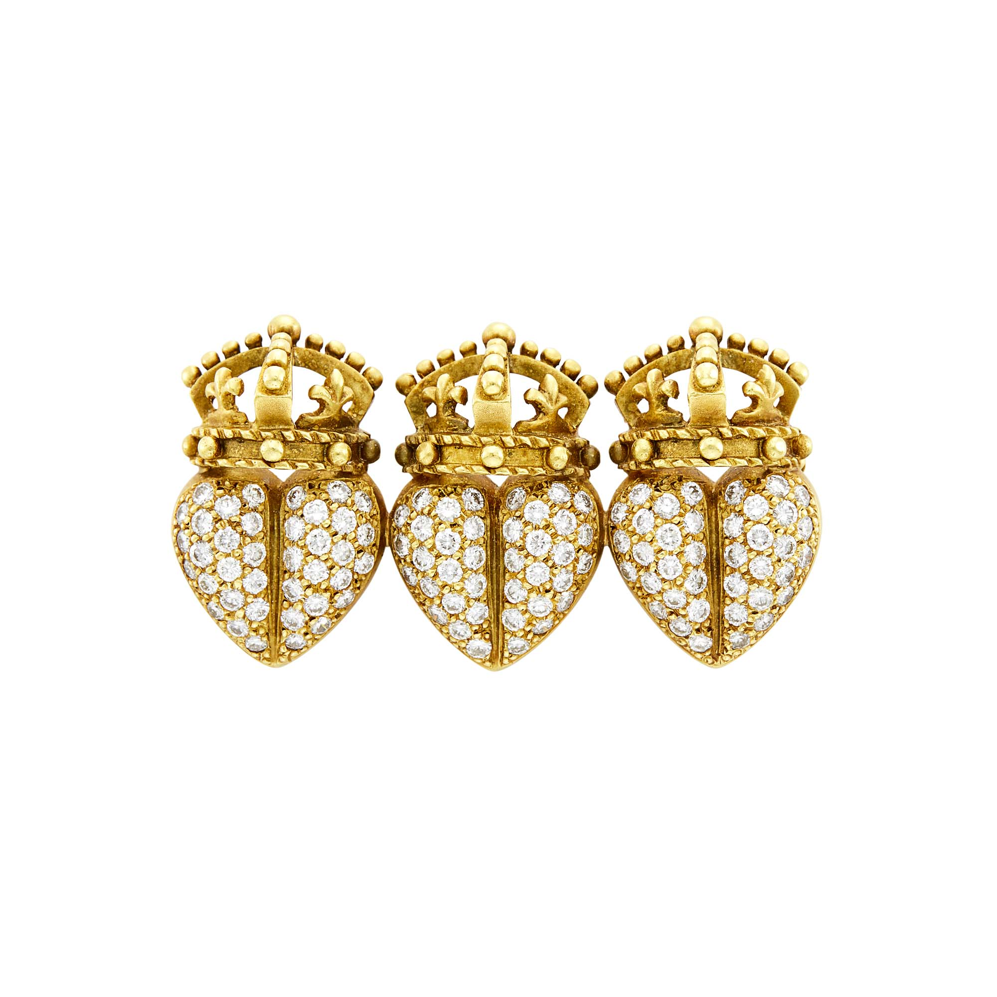 Lot image - Gold and Diamond Triple Heart Crown Pin