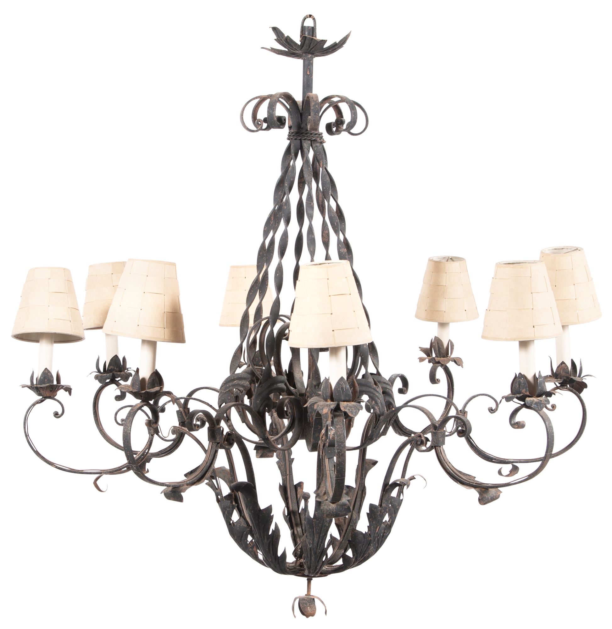 Lot image - Continental Wrought-Iron Eight-Light Chandelier