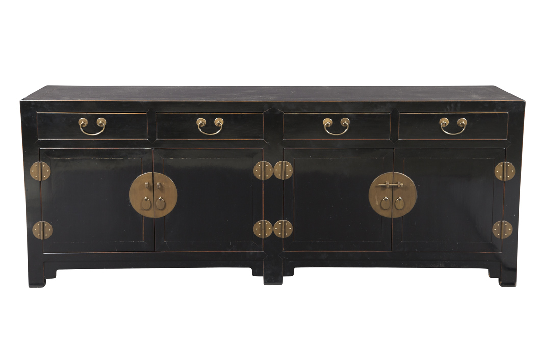 Lot image - Chinese Style Black Lacquered Pine Side Cabinet