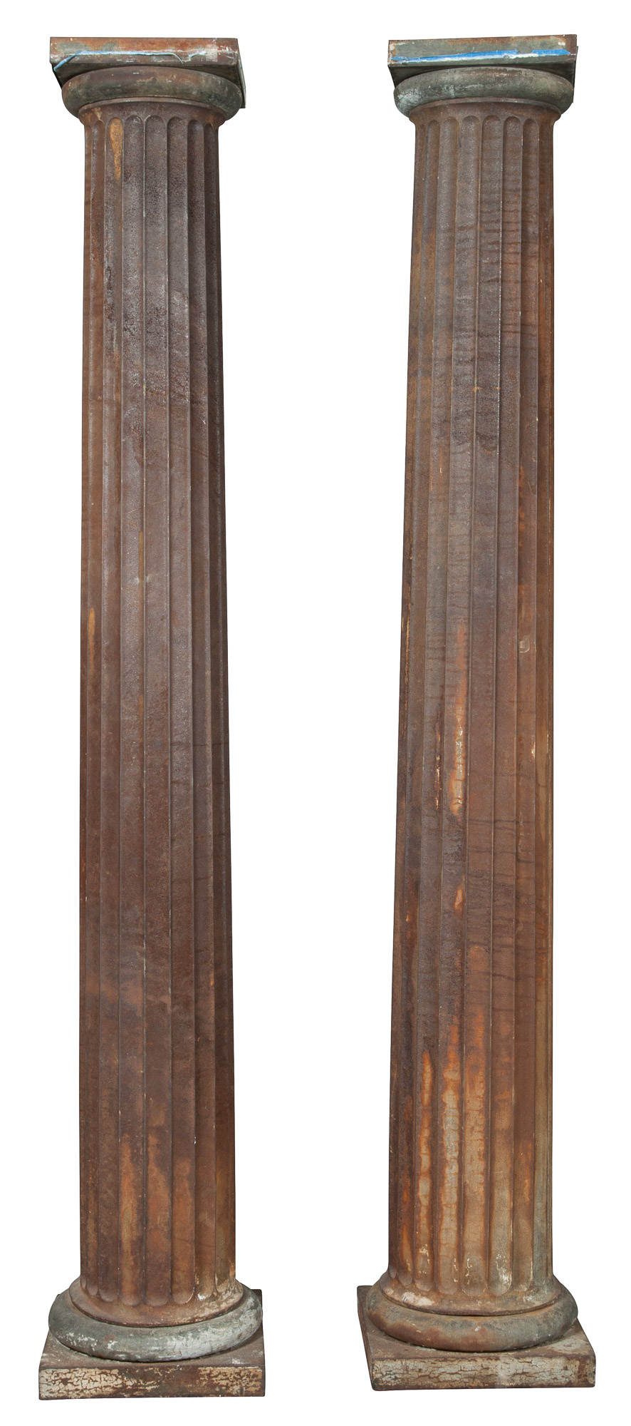 Lot image - Pair of Sheet Metal Fluted Columns with Doric Capitals
