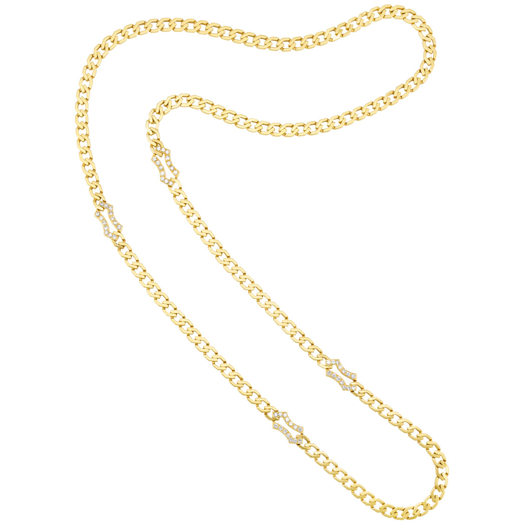Lot image - Long Gold and Diamond Curb Link Chain Necklace, Boucheron, France