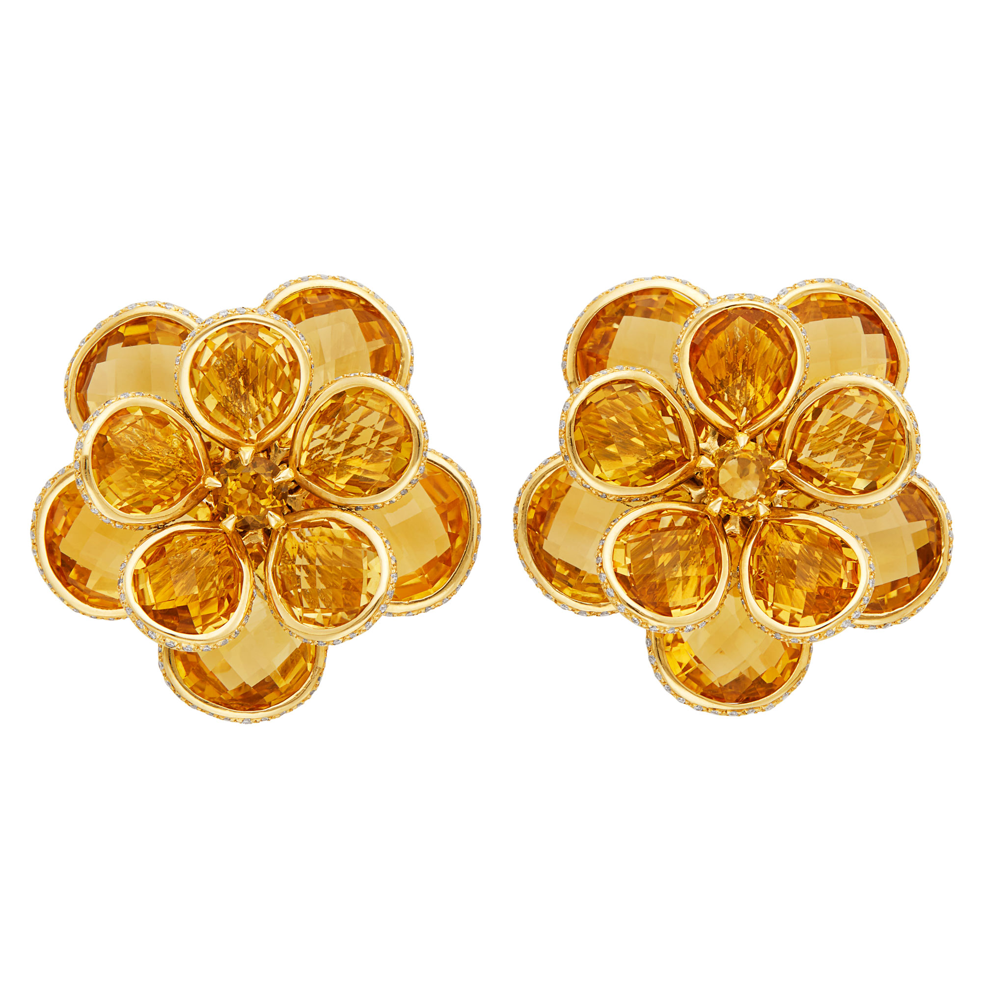 Lot image - Pair of Gold, Citrine and Diamond Flower Earrings