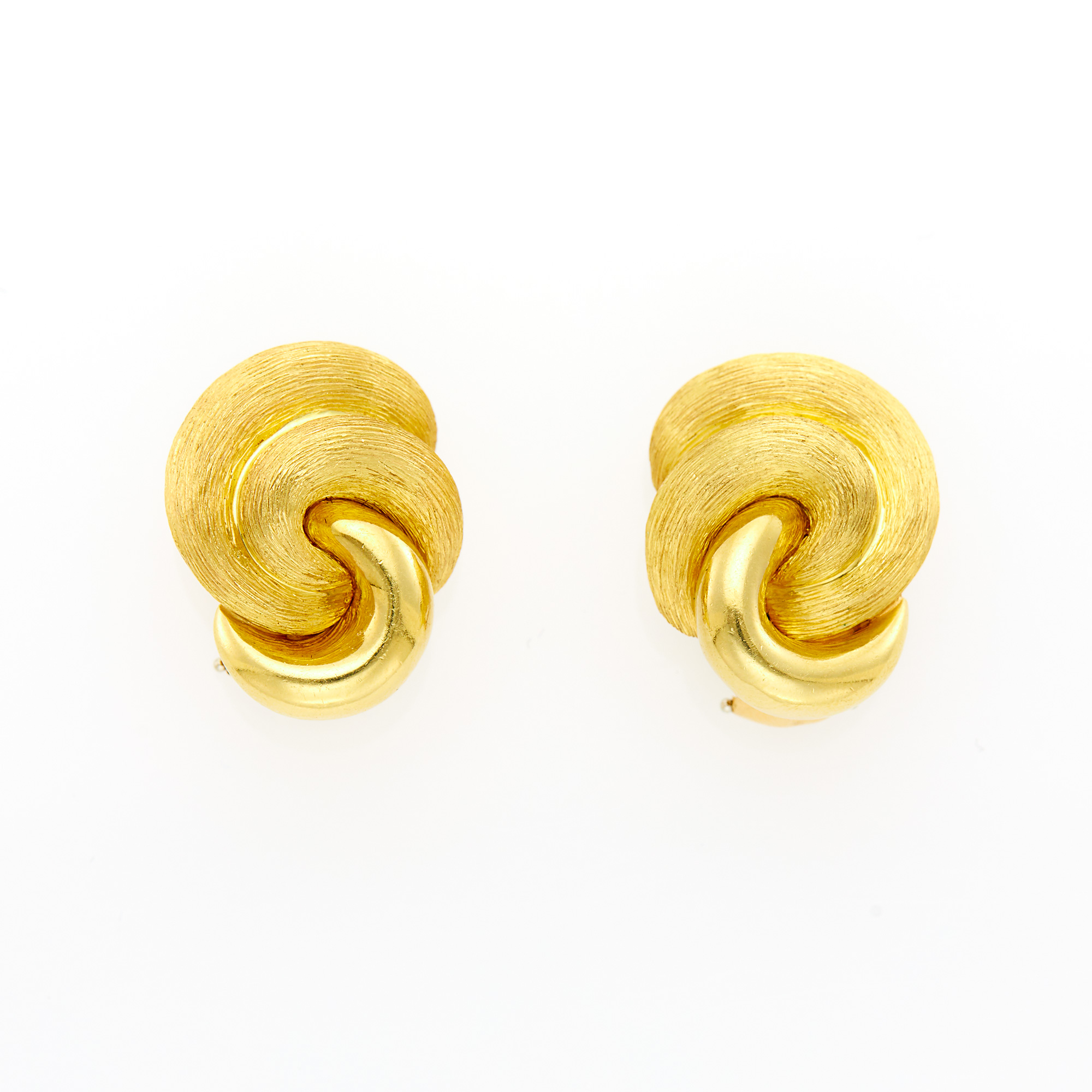 Lot image - Henry Dunay Pair of Gold Knot Earrings