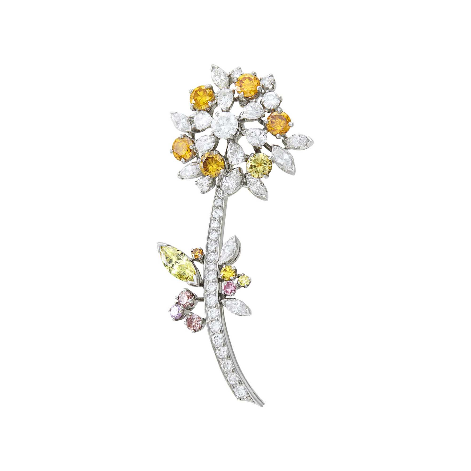 Lot image - Platinum, Colored Diamond and Diamond Flower Brooch