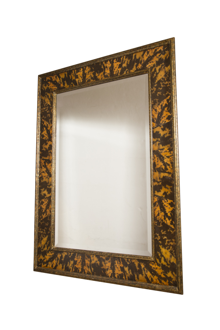 Lot image - Faux Tortoise Shell Overmantel Mirror