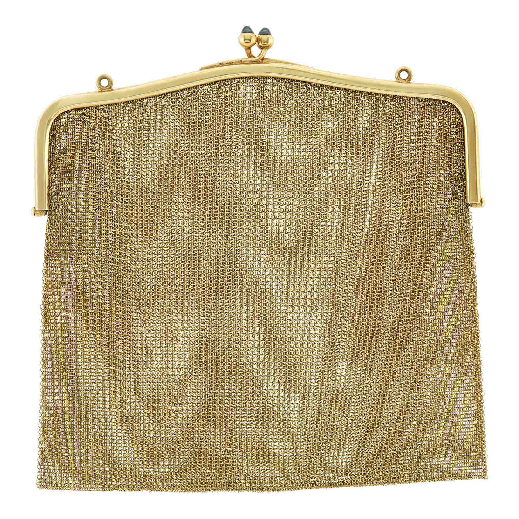 Lot image - Gold and Sapphire Mesh Purse