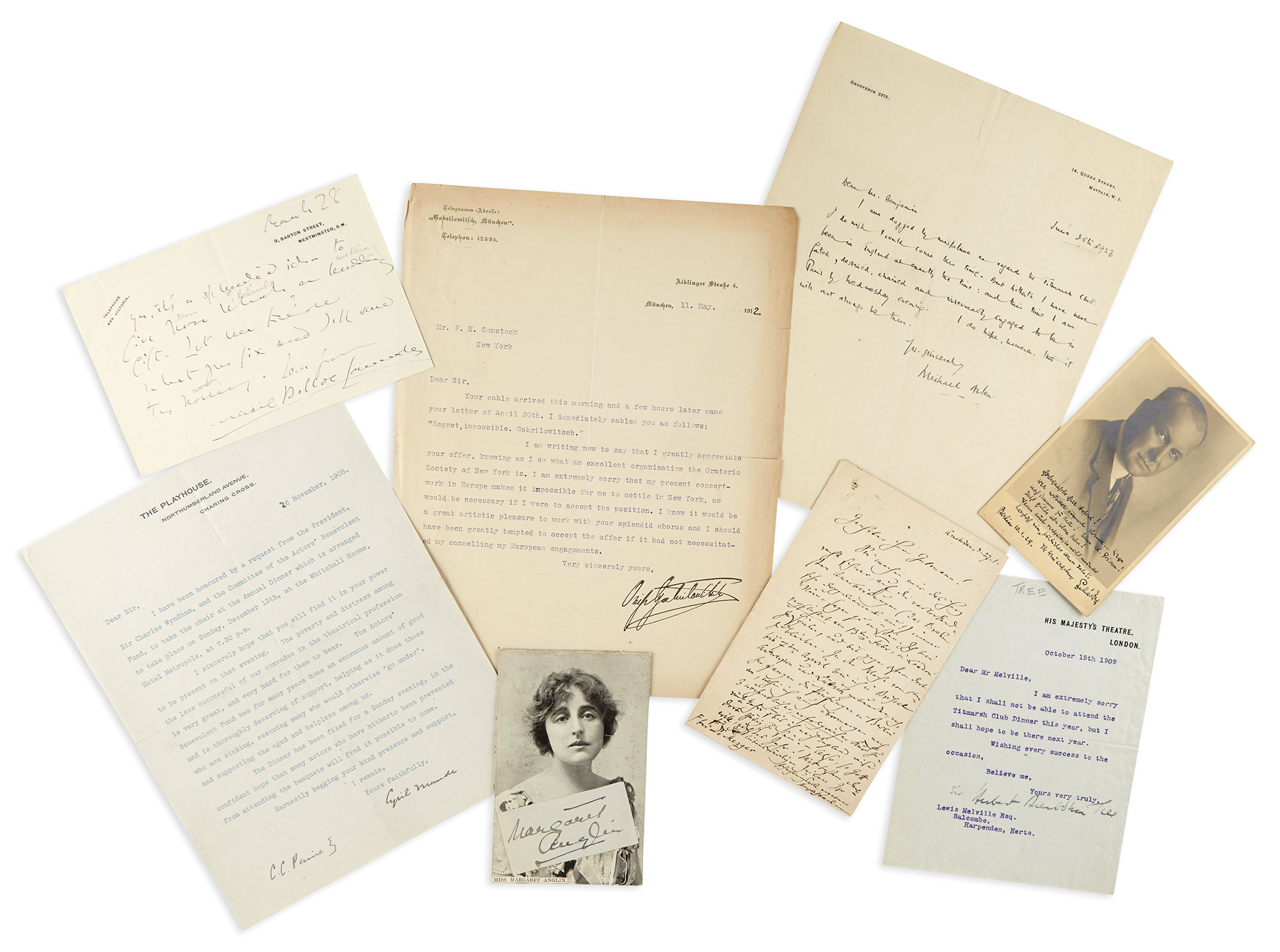 Lot image - [THEATRICAL AND MUSICAL AUTOGRAPHS]  Group of autograph letters.