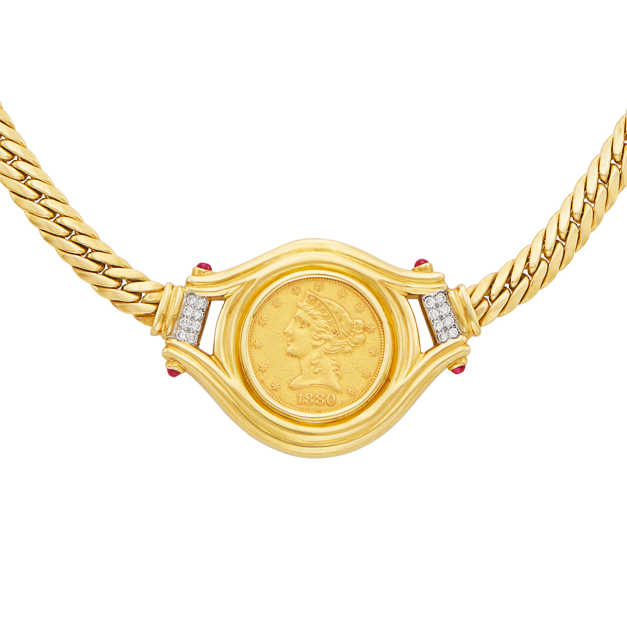 Lot image - Gold, Gold Coin, Diamond and Cabochon Ruby Necklace