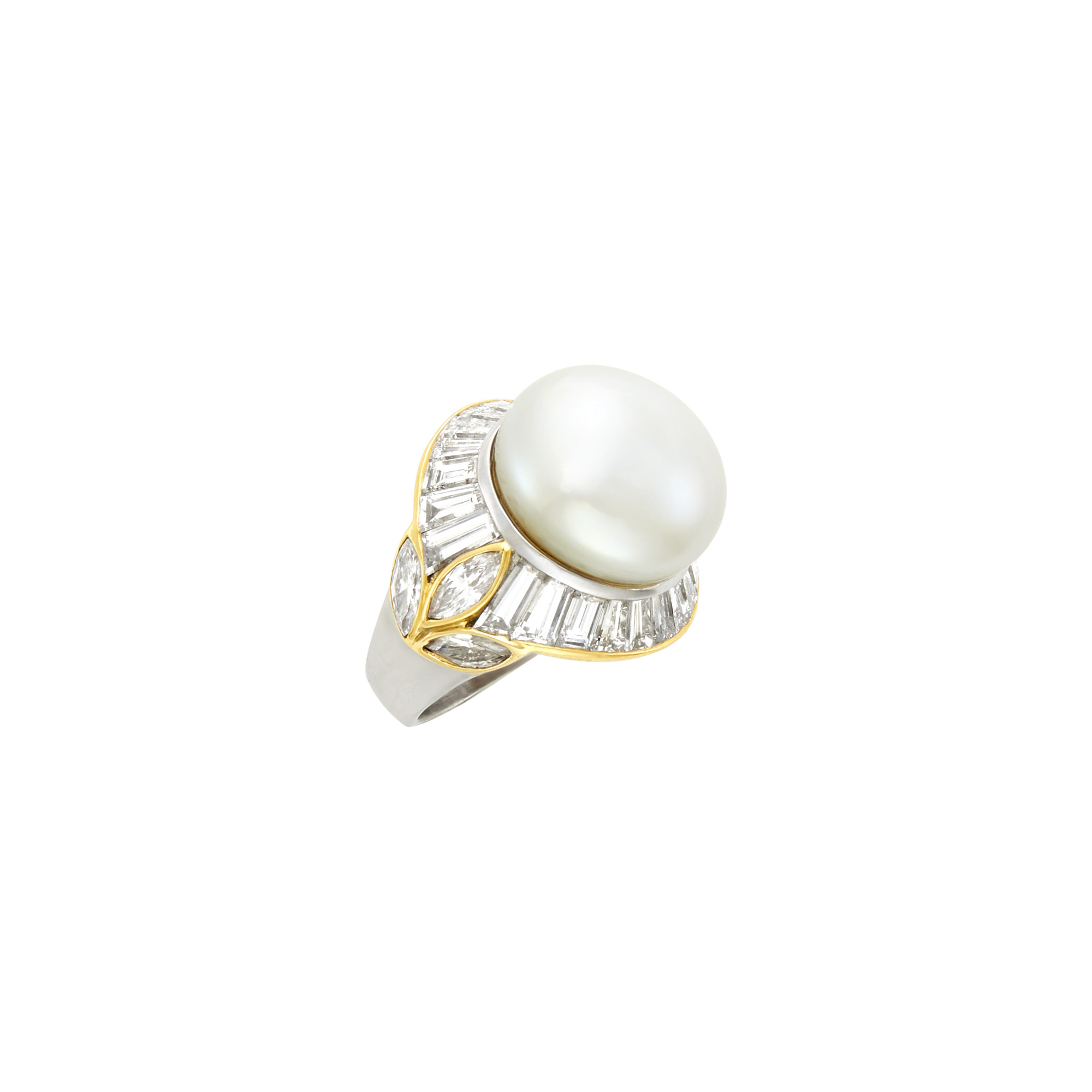 Lot image - Platinum, Gold, South Sea Button Cultured Pearl and Diamond Ring