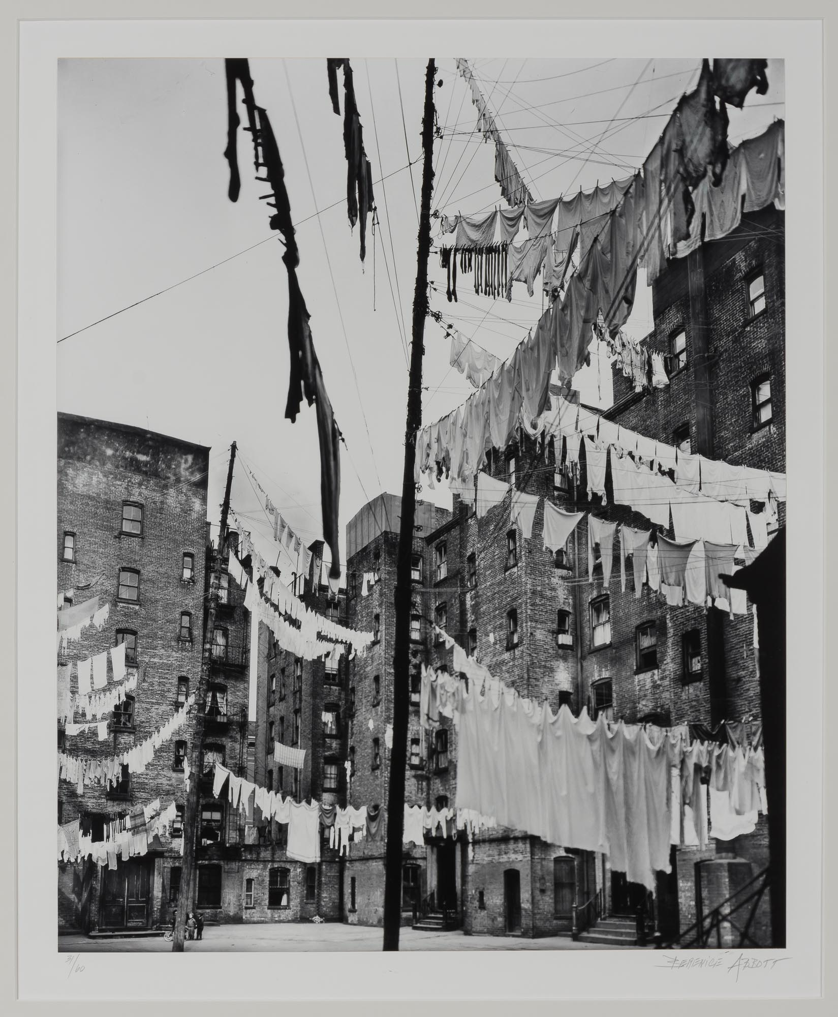 Lot image - ABBOTT, BERENICE (1898-1991)  Clotheslines, court of first model tenement house in New York City,