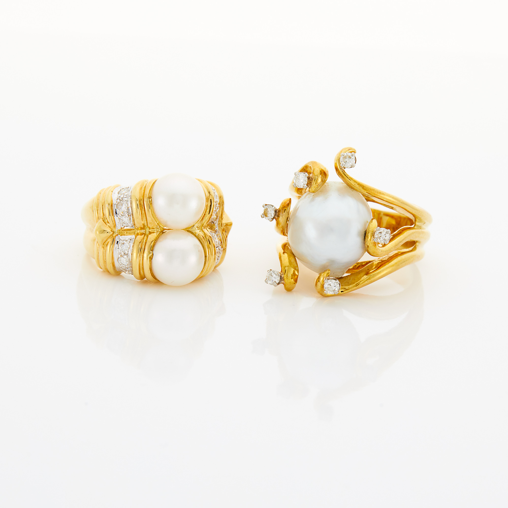 Lot image - Two Gold, Cultured Pearl and Diamond Rings