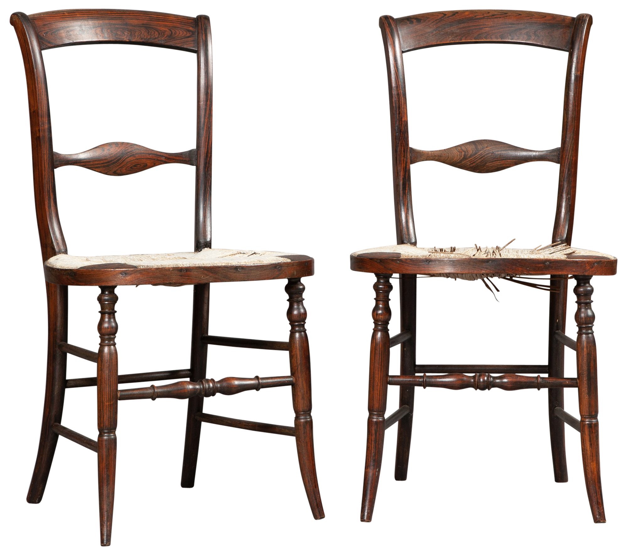 Lot image - Pair of American Rosewood-Grained Rush Seat Side Chairs