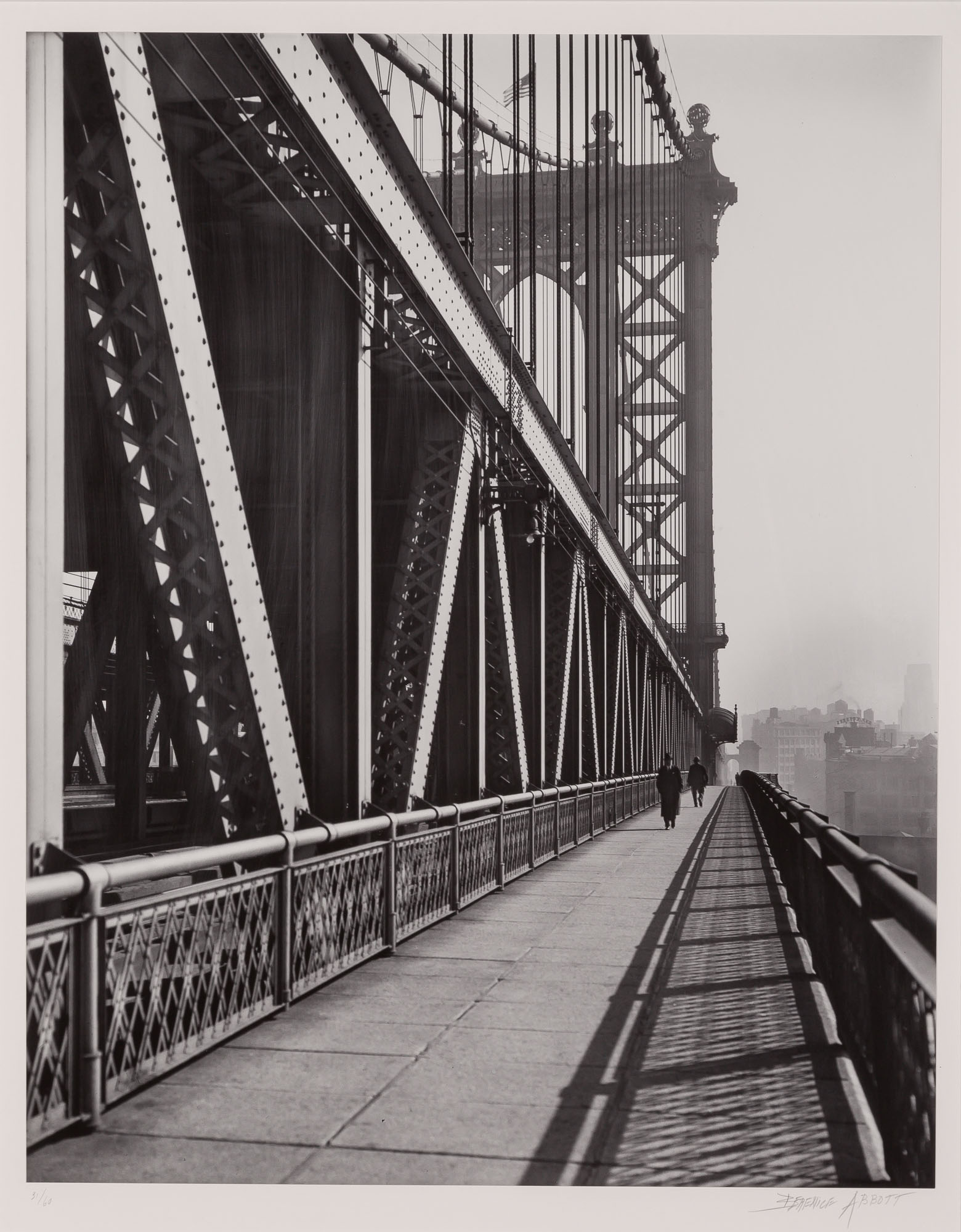 Lot image - ABBOTT, BERENICE (1898-1991)  Manhattan Bridge, walkway,