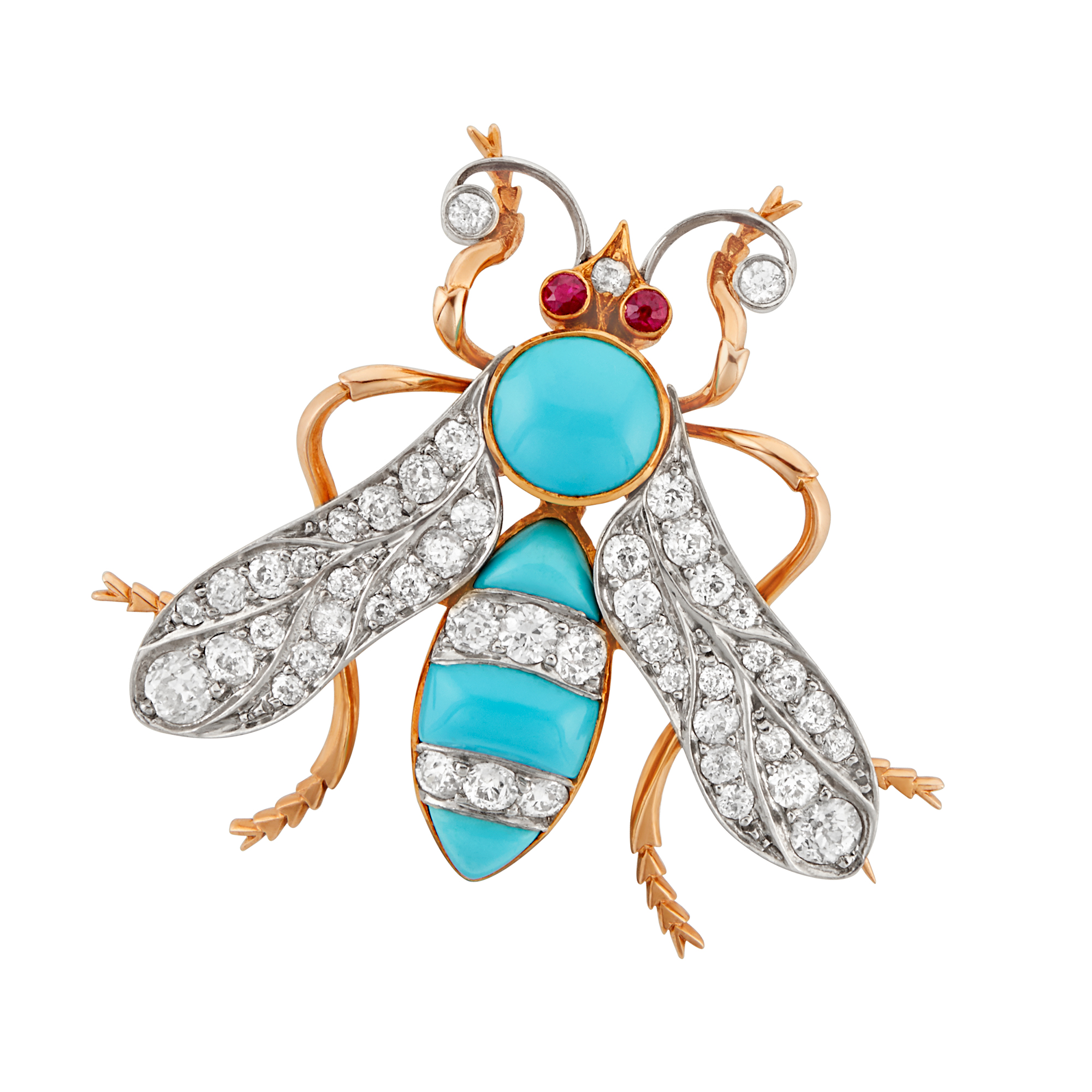 Lot image - Antique Platinum-Topped Gold, Diamond and Turquoise Wasp Pin
