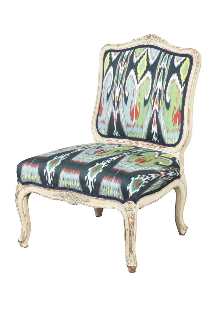 Lot image - Louis XV Style Upholstered Painted Slipper Chair