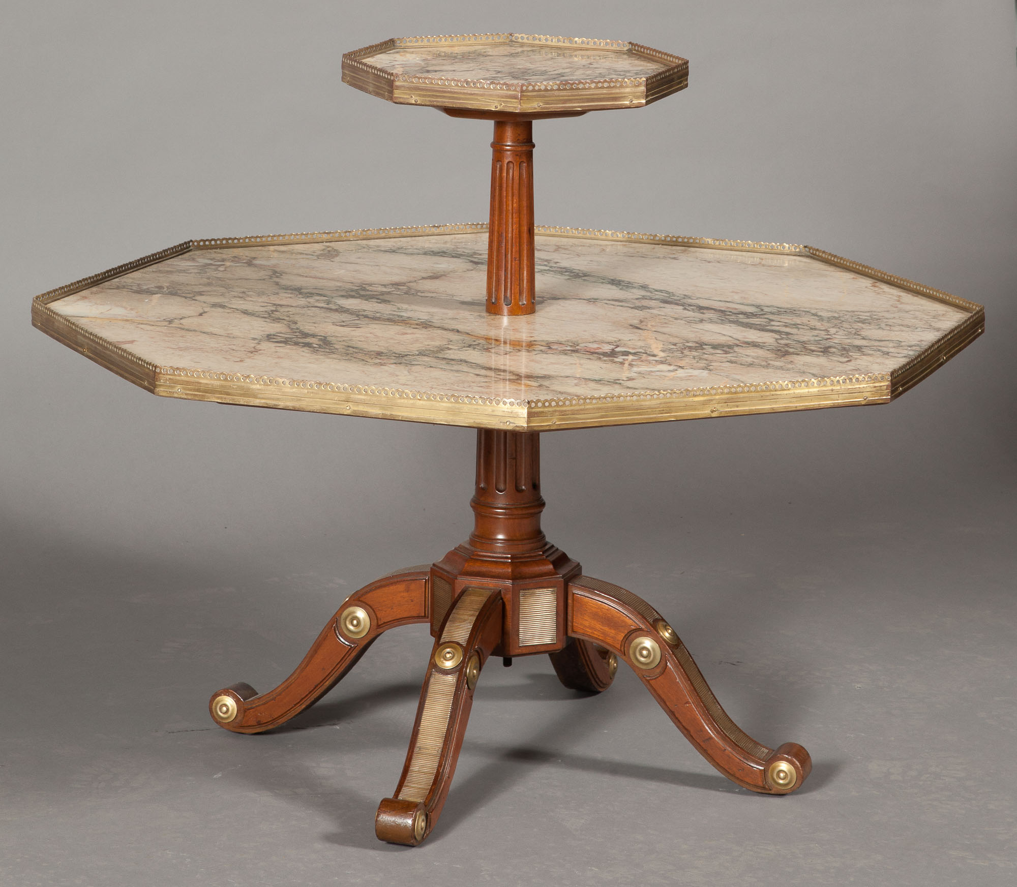Lot image - Louis XVI Style Brass-Mounted Mahogany and Marble Two-Tier Octagonal Table
