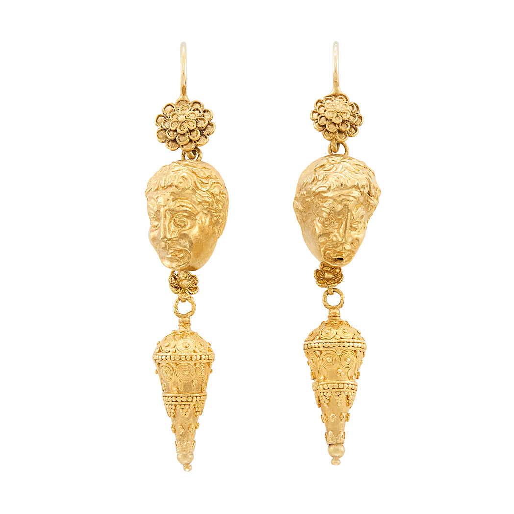 Lot image - Pair of Gold Figural Face Pendant-Earrings