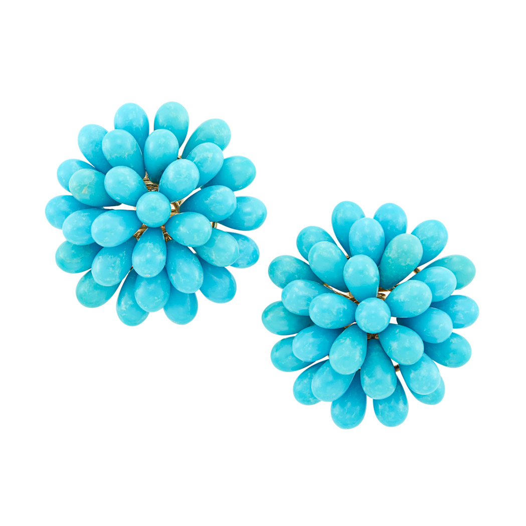 Lot image - Pair of Gold and Turquoise Cluster Earrings