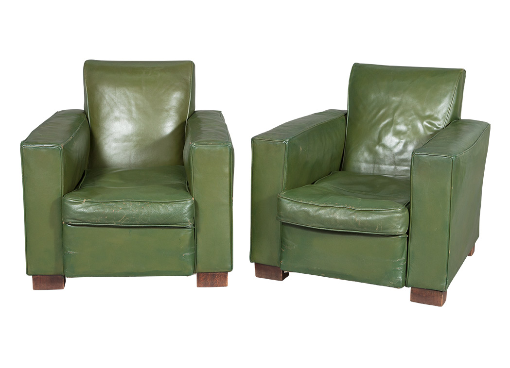 Lot image - Pair of French Late Art Deco Green Leather Upholstered Club Chairs