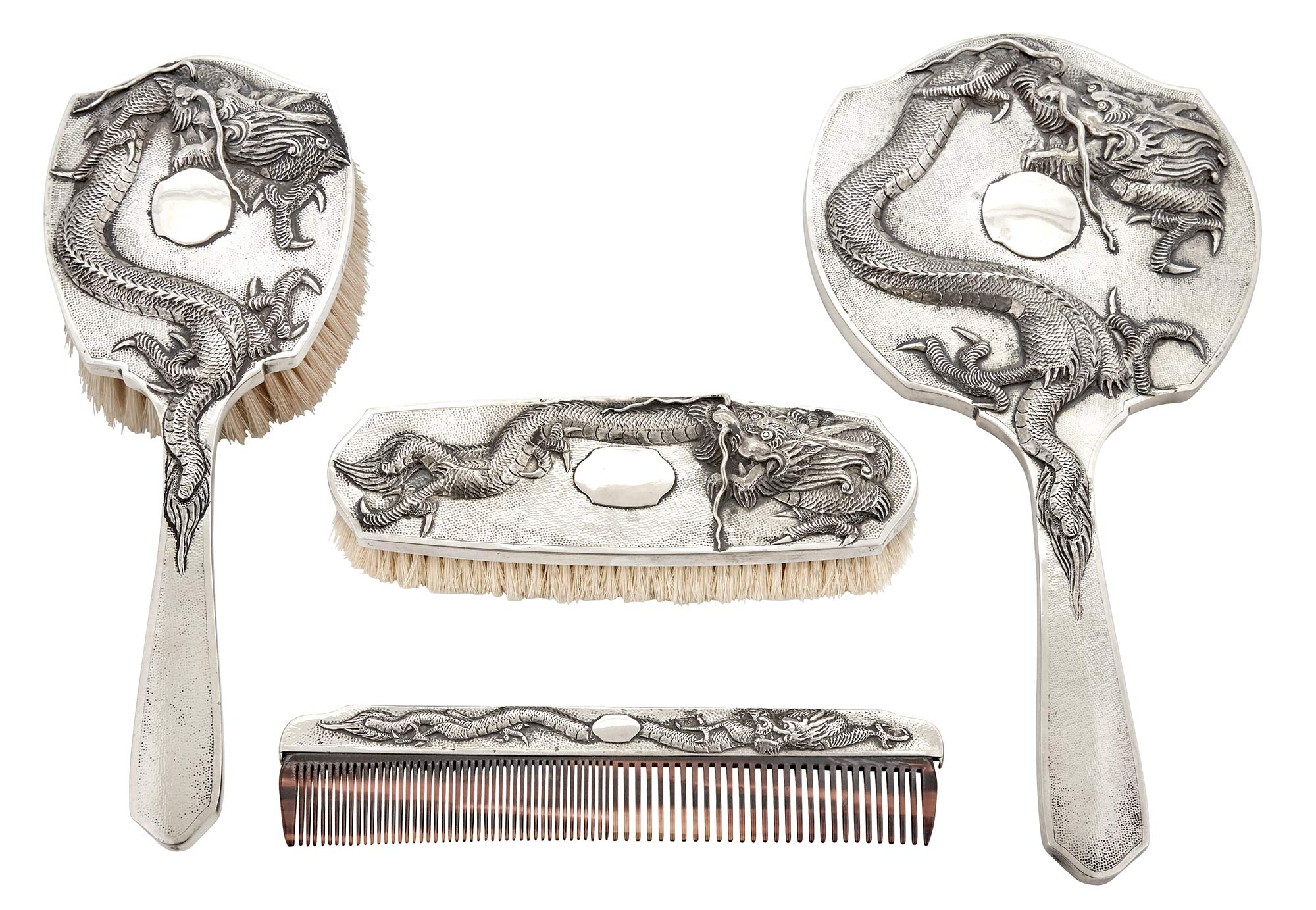Lot image - Chinese Export Silver Four-Piece Dresser Set