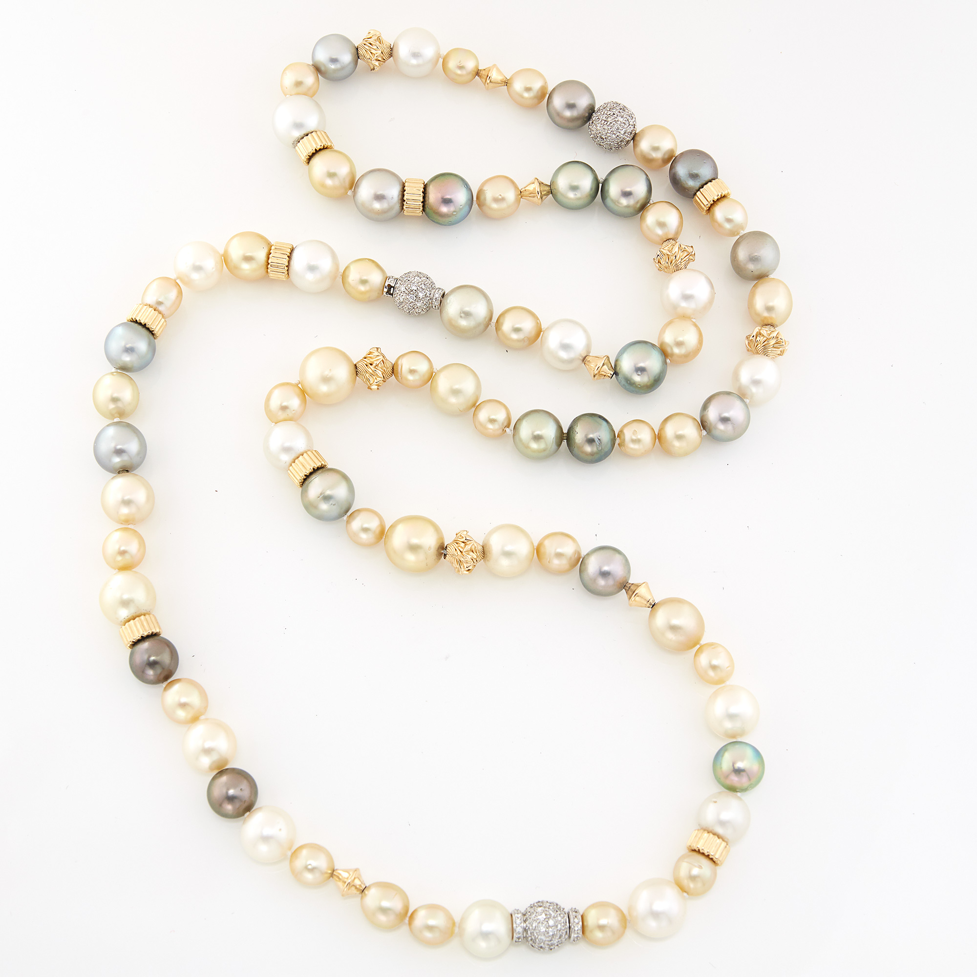 Lot image - Multicolored Cultured Pearl, Gold and Diamond Bead Necklace