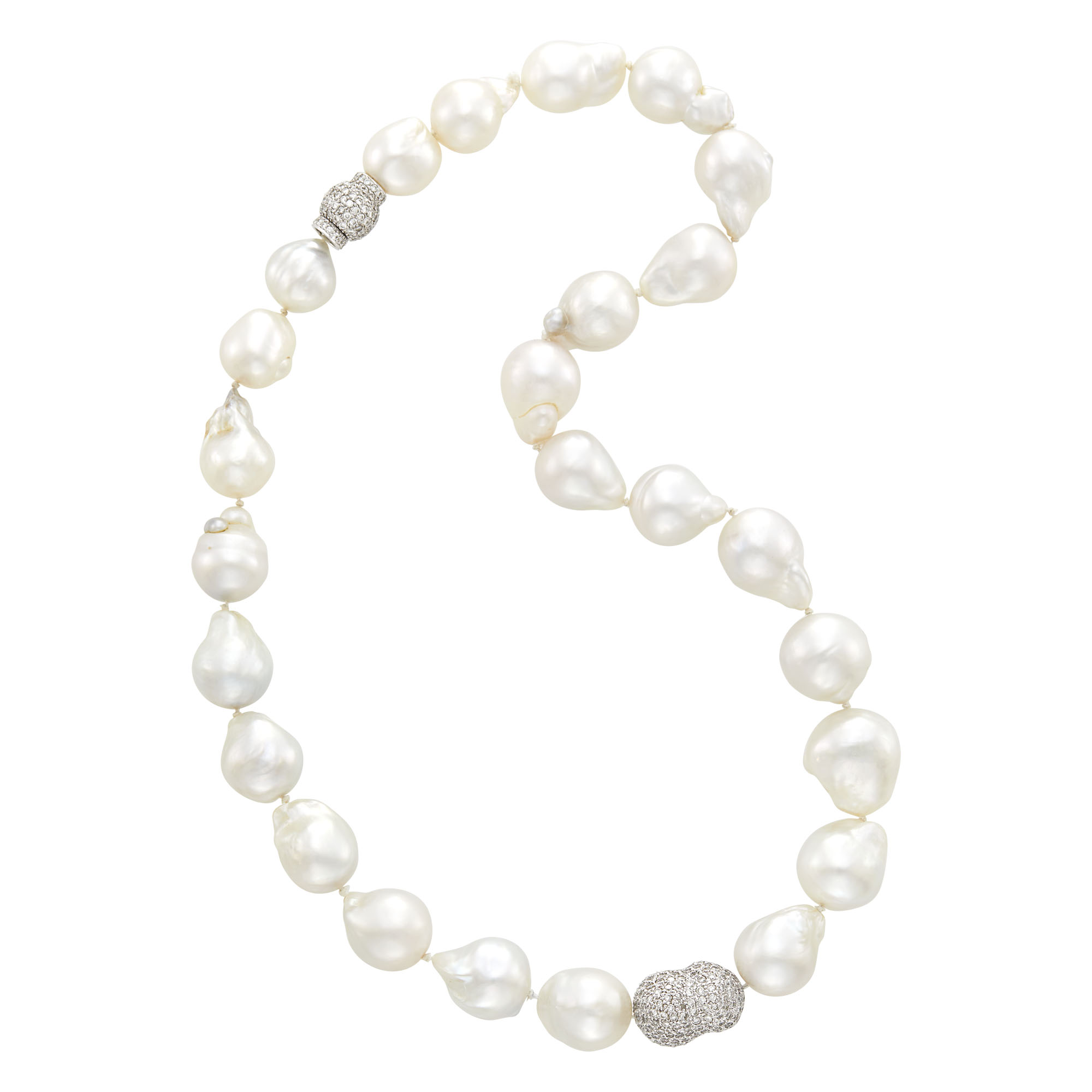 Lot image - Baroque Cultured Pearl, White Gold and Diamond Necklace