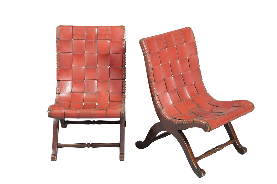 Lot image - Pair of French Woven Red Leather and Mahogany Stained Slipper Chairs