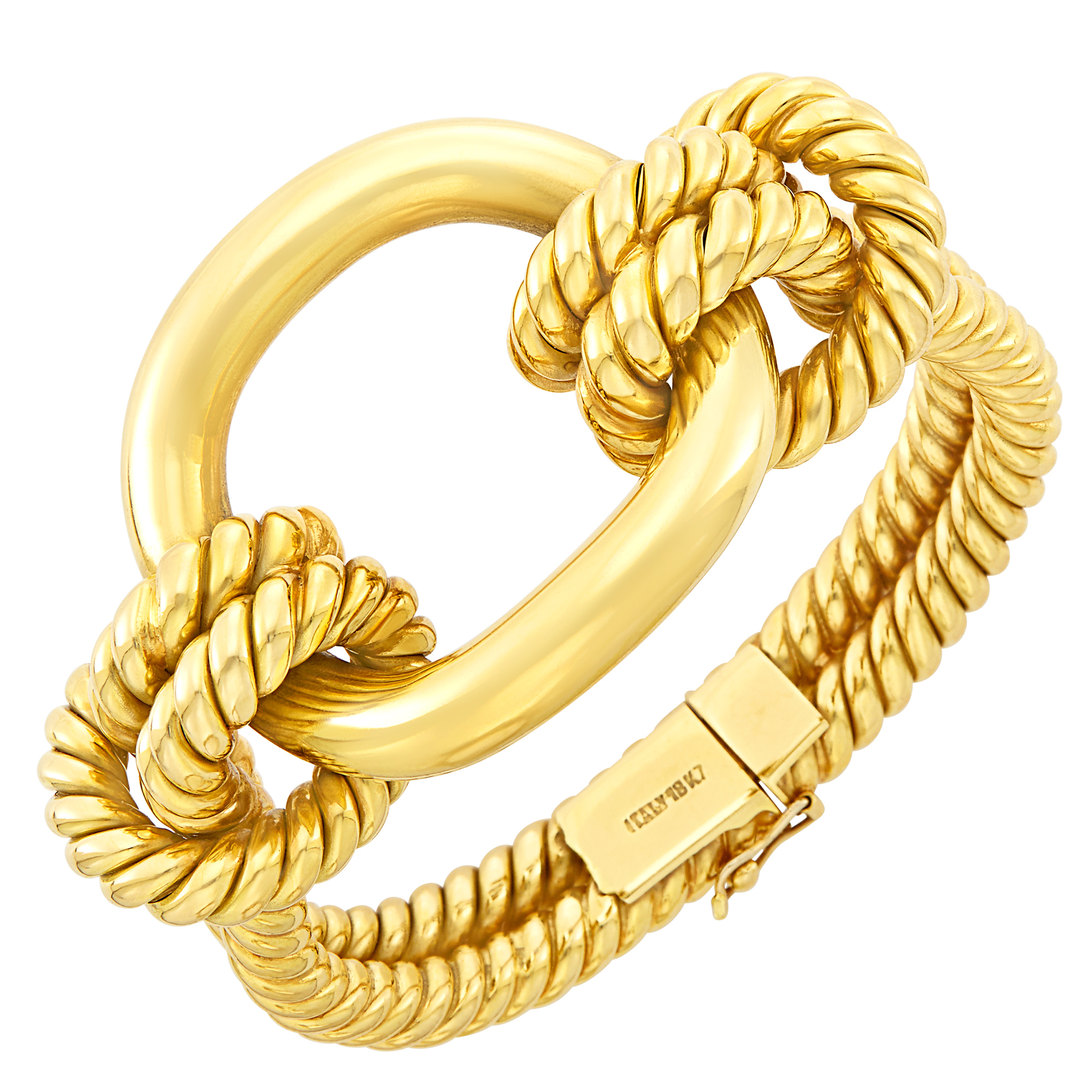 Lot image - Rope-Twist Gold Bangle Bracelet
