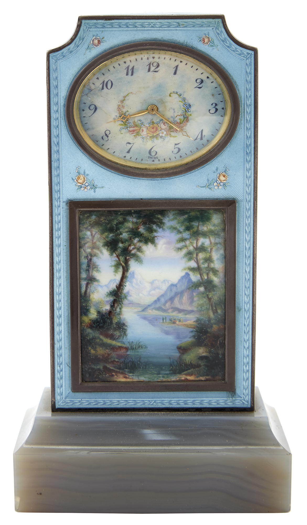 Lot image - Swiss Silver, Enamel and Agate Desk Clock