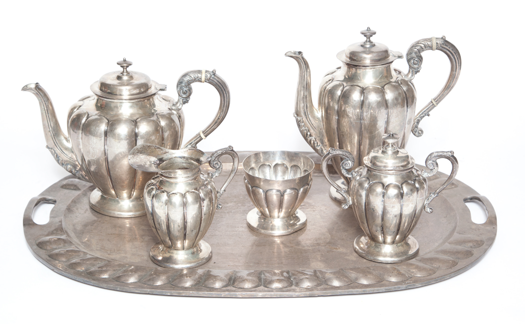 Lot image - Mexican Sterling Silver Five-Piece Tea and Coffee Service