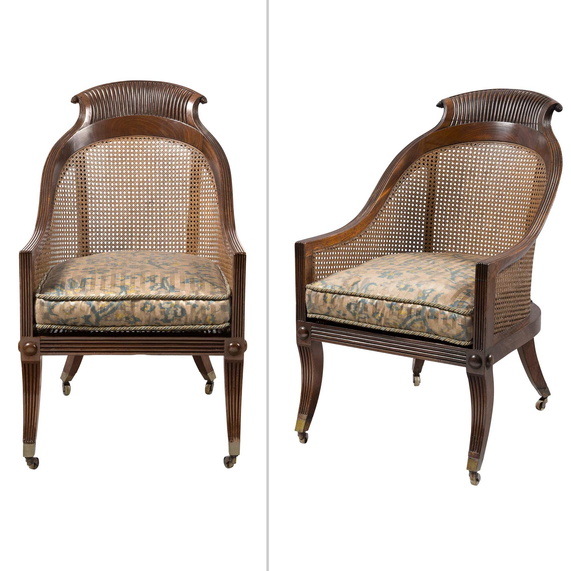 Lot image - Pair of Regency Mahogany Caned Bergères in the manner of Gillows