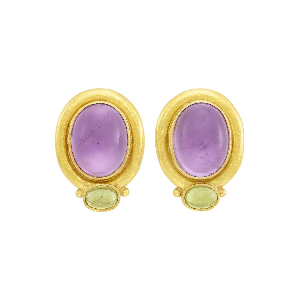 Lot image - Pair of Gold, Cabochon Amethyst and Peridot Earclips, Elizabeth Locke