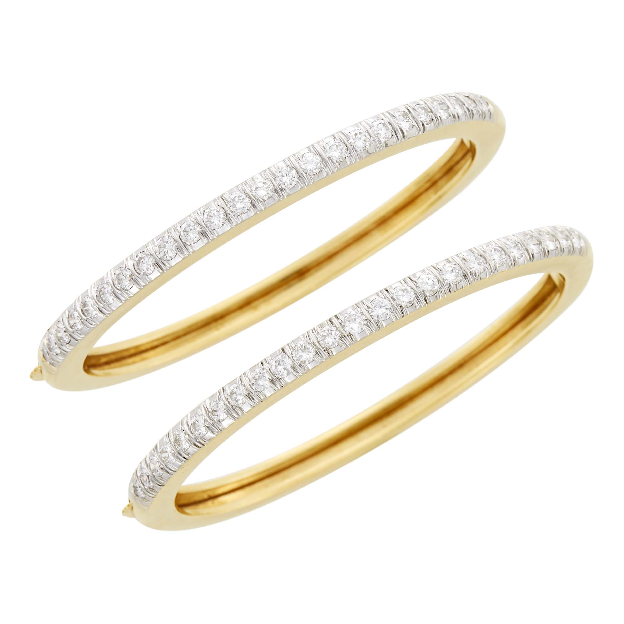 Lot image - Pair of Two-Color Gold and Diamond Bangle Bracelets