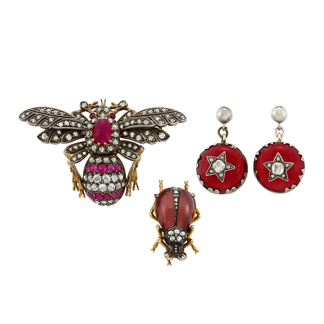 Lot image - Pair of Antique Gold, Silver, Ruby, Diamond, Simulated Diamond and Paste Earrings, Bee Pin and Carbunkle Garnet Beetle Pin