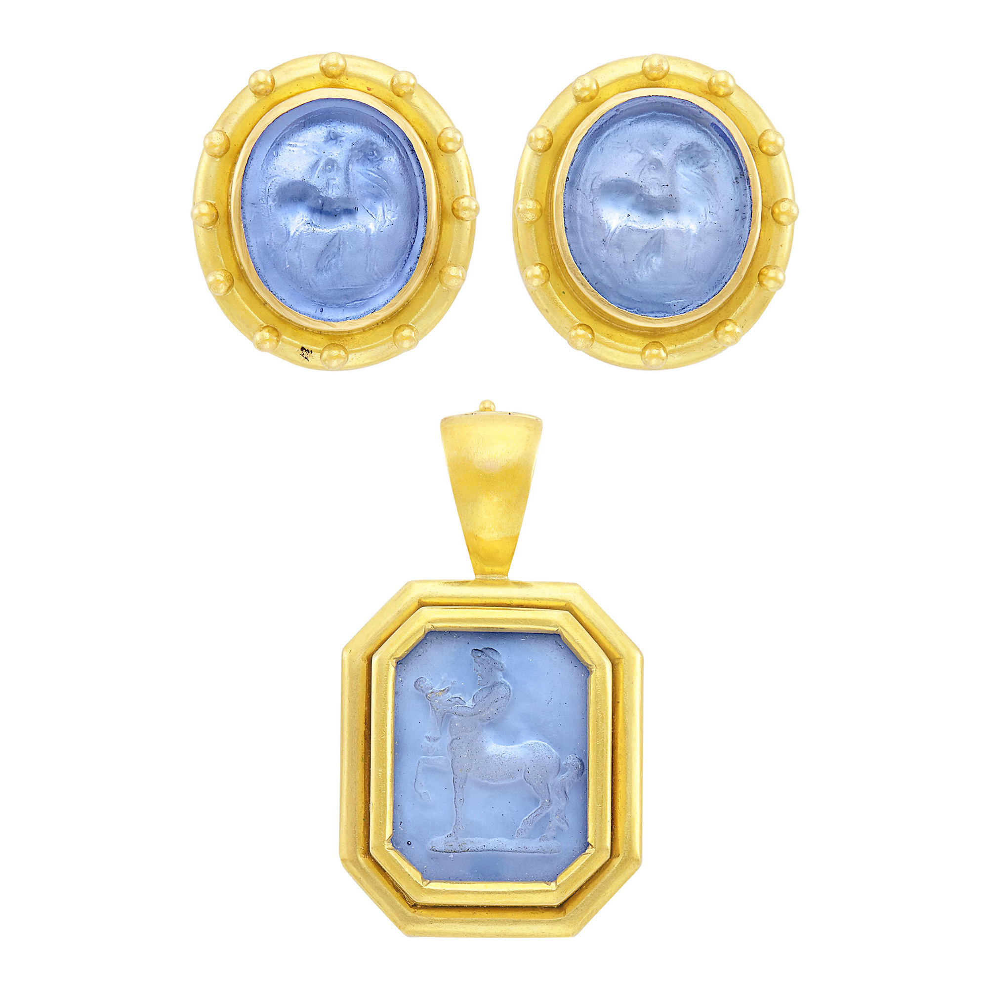 Lot image - Pair of Gold and Blue Glass Cameo Earclips and Blue Glass Intaglio Pendant, Elizabeth Locke