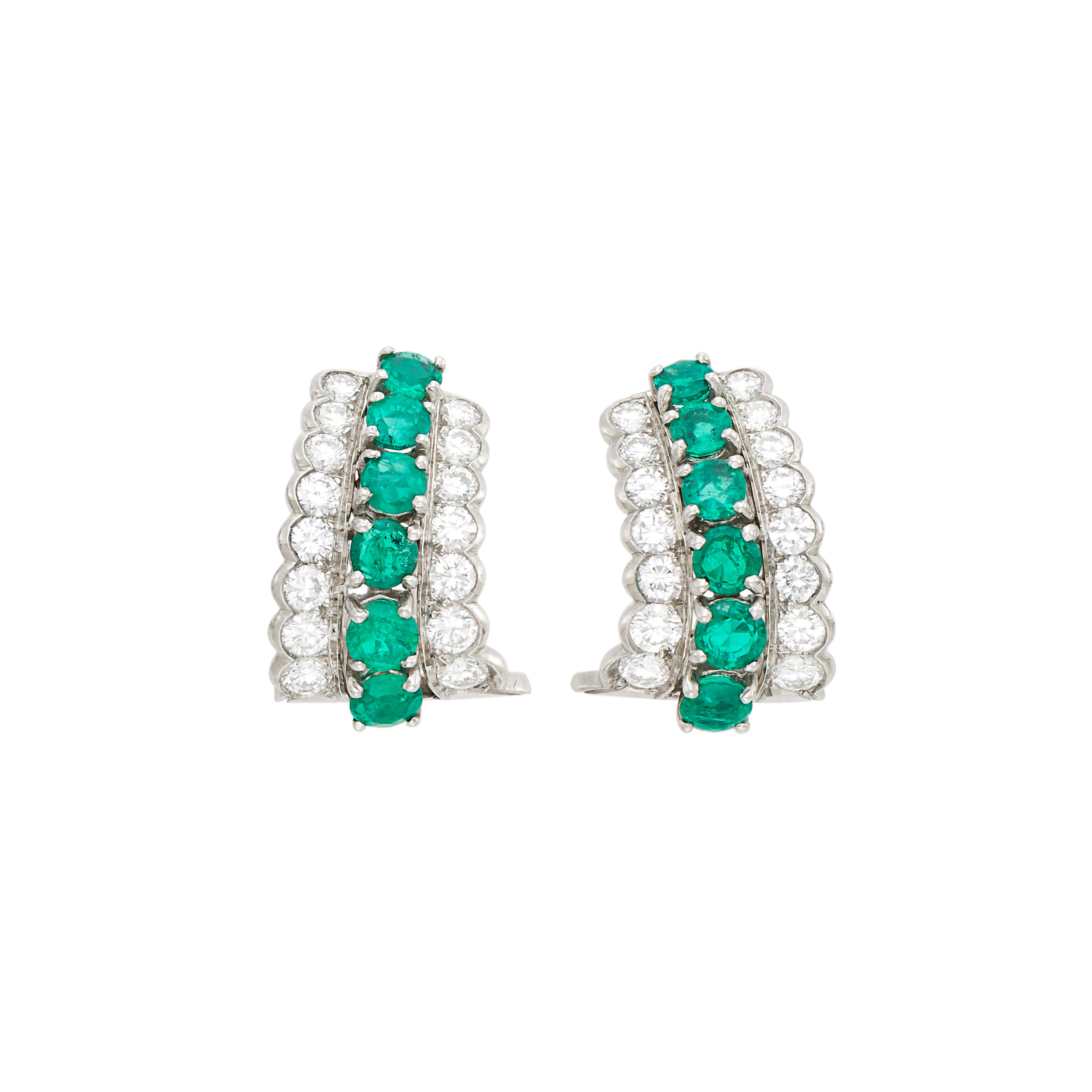 Lot image - Tiffany & Co. Pair of Platinum, Emerald and Diamond Earclips